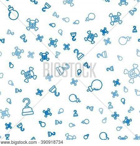 Set Line Pirate Hook, Bomb Ready To Explode And Skull On Crossbones On Seamless Pattern. Vector