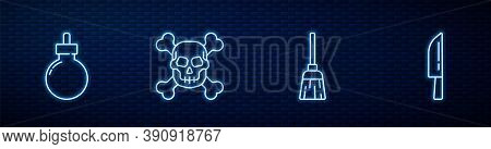 Set Line Witches Broom, Bomb Ready To Explode, Skull On Crossbones And Knife. Glowing Neon Icon On B
