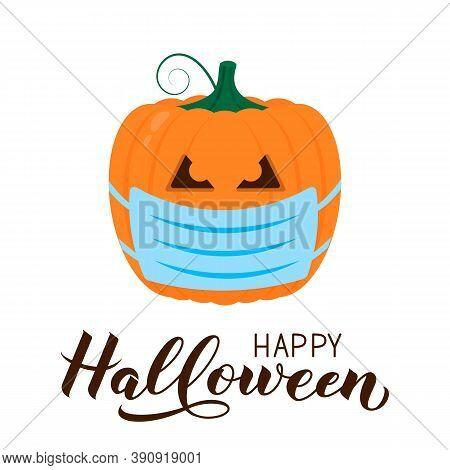 Halloween Pumpkin Wearing Protective Mask Icon Isolated On White. Cute Cartoon Jack-o -lantern. Coro
