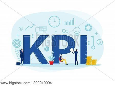 Team Business Analyst Kpi Organization With Key Performance Indicator Word Lettering Typography Vect