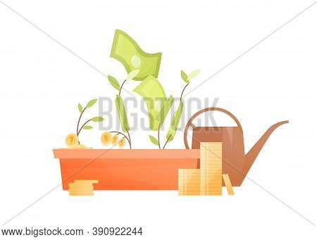 Concept Of Investment Evolving Business, Financial Development. Growing Money Tree With Cash And Coi