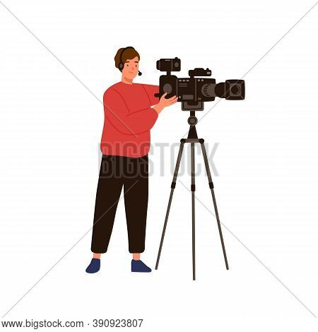 Professional Cameraman Or Operator Isolated On White Background. Man Videographer Character Holding