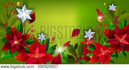 Christmas Poinsettia Floral Vector Banner With Winter Plants, Flowers On Green Background. X-mas Hol