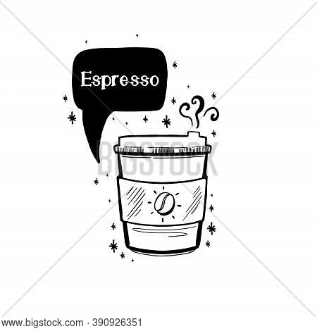 Doodle Coffee Drink Sketch.arabica Aroma Design Menu Cafe.black Element Isolated In White Background