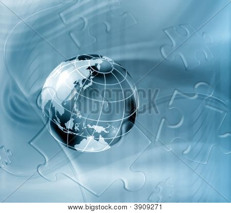 Blue geography abstract background with planet and puzzle poster