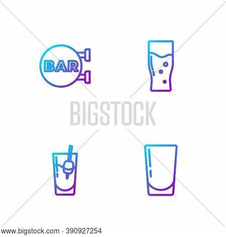Set Line Glass With Water, Cocktail Bloody Mary, Street Signboard Bar And Of Beer. Gradient Color Ic