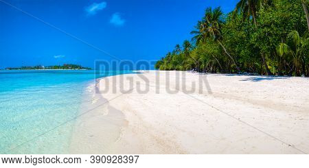 Beautiful White Sand, Bright Blue Sky And Clouds, Palm Trees And Dense Greens, All This On The Maldi