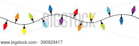 Lightbulb Glowing Garland. Christmas Lights. Colorful String Fairy Light Set. Cone Shape. Holiday Fe