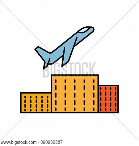 Take Off, Roll O Plane, Transportation Line Colored Icon. Elements Of Airport, Travel Illustration I