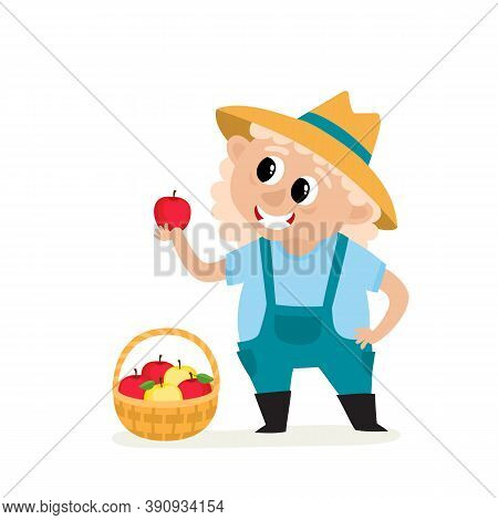 Cartoon Old Woman Farmer Holding Apple With Basket Isolated On White. Standing And Smyling Female Ch