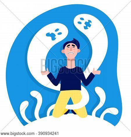 Scared Man In Blue And Yellow Clothes With Horror Ghosts. Vector Colorful Illustration Of Upset Male