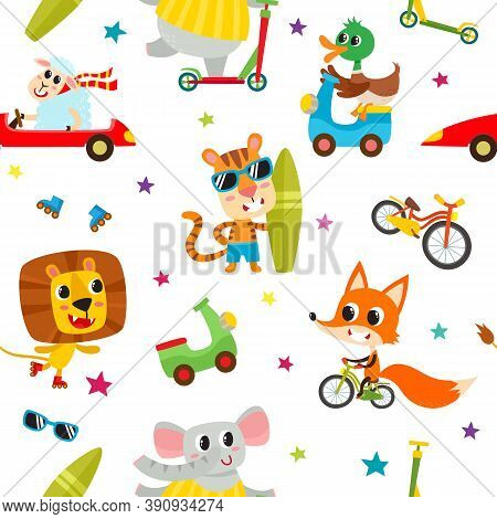 Cute Adorable Animals Character On Different Transport. Vector Seamless With Domestic And Wild Anima