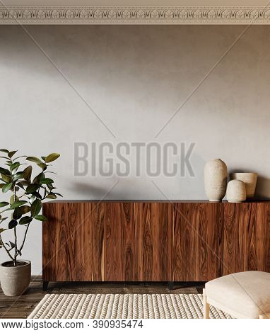Interior With Wood Dresser, Plants And Carpet. 3d Render Illustration Mock Up.