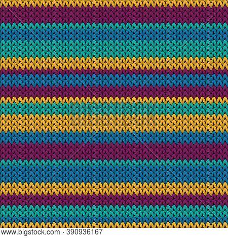 Fluffy Horizontal Stripes Knitting Texture Geometric Vector Seamless. Fair Isle Sweater Knit Effect