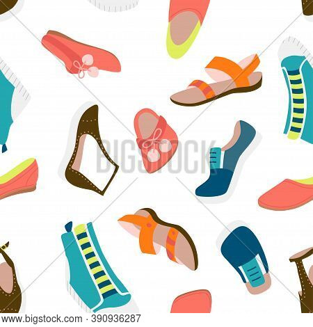 Casual Shoes Seamless Pattern. Loafers, Slippers, Sandals, Sneakers, Flats. Vector Colorful Fashion