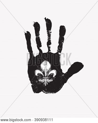 Black Print Of A Human Hand With Royalty Symbol Fleur De Lis On The Open Palm. Vector Black And Whit