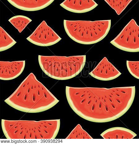 Fruit Seamless Pattern With Appetizing Slices Of A Red Sweet Watermelon On A Black Backdrop. Vector