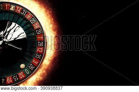 Flaming casino roulette wheel concept