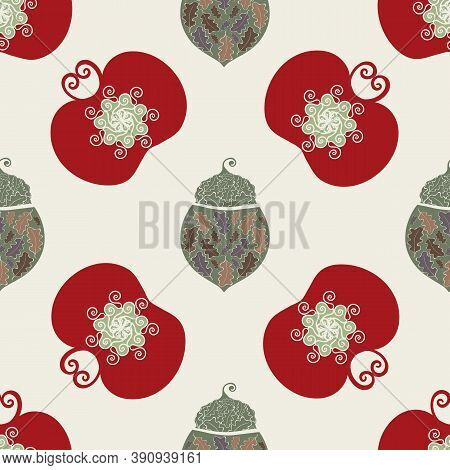 Stylized Vector Acorn And Apple Seamless Pattern Background. Backdrop Of Elegant Hand Drawn Forest N