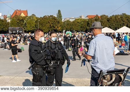 Demonstration In Theresienwiese, Munich, Germany On The 12.09.2020, Protest Against Corona Regulatio