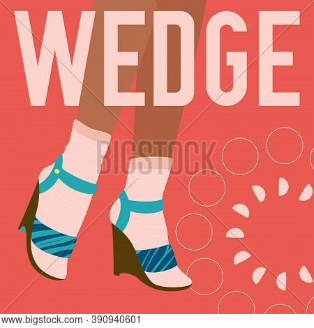 Wedge Words And Female Legs In Socks And Wedge Heeled Shoes. Bright Colorful Fashion Design. Vector