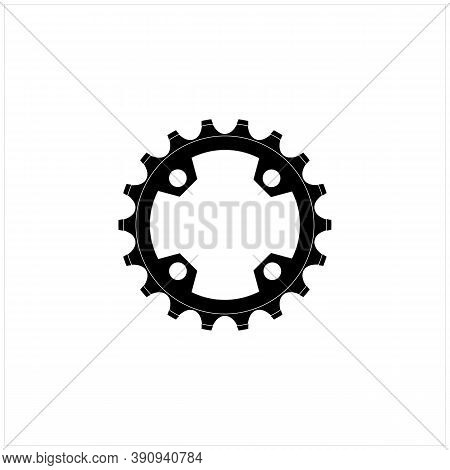 Black And White Wheel Front Gear Sprocket Cogs Chain Ring Bicycle  Logo Design Clip Art