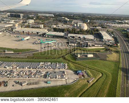 Dublin, Ireland - October 09, 2020: Passenger View From Ryanair Flight Approacing Dublin Airport