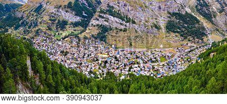 Aerial View Of Zermatt, An Alpine Resort In The Canton Of Valais, Switzerland