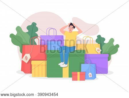 Shopaholic With Purchases Flat Concept Vector Illustration. Shopping On Seasonal Sale. Customer With