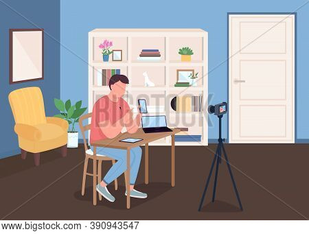 Vlogger Flat Color Vector Illustration. Man Shooting Video With Camera. Live Streaming For Social Me
