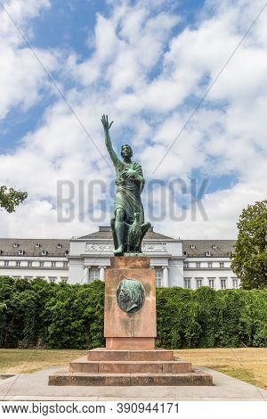 Koblenz, Germany - August 03, 2019: Statue Of Joseph Gorres In Front Of The Palace In Koblenz, Germa