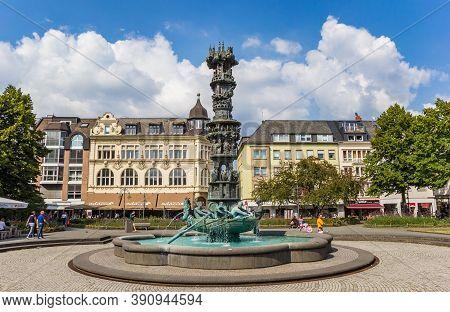 Koblenz, Germany - August 03, 2019: History Column Sculpture At The Gorresplatz Square In Koblenz, G