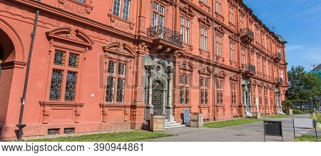 Mainz, Germany - August 04, 2019: Panorama Of The Side Wall Of The Royal Palace In Mainz, Germany