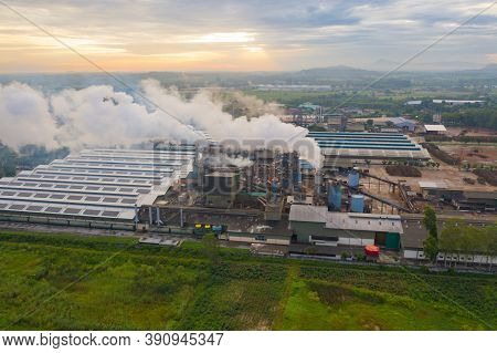 Aerial View Of Mae Moh Coal Power Plant With Smoke And Toxic Air From Chimney. Factory Industry. Ele