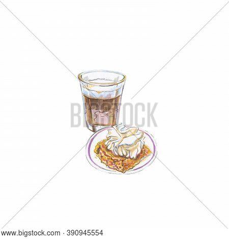 Watercolor Coffee Corretto, Cake Gooey Pumpkin, Raster Illustration