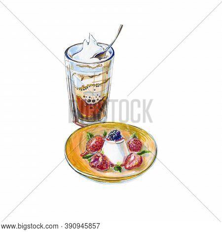 Watercolor Coffee Demi Creme, Italian Panna Cotta Dessert, Pudding Panna Cotta