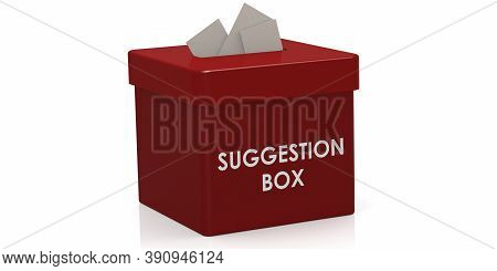 Red Suggestion Box Isolated On White Background, 3d Rendering