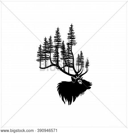 Deer Stag Buck Silhouette With Pine, Evergreen Tree Forest Logo Design Vector