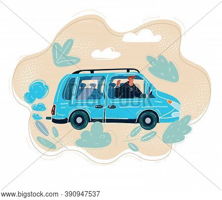 Vector Illustration Of Car Driver Man Smiling And Drive His Car
