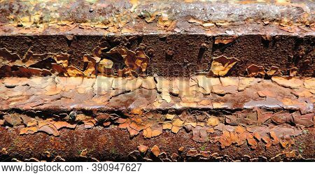Twisted Metal,  Abstract Backdrop Of Rusty Metal Texture With  Flaking Paint And Copy Space. Anti-co