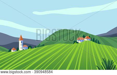 Rural Area Spring, Summer Landscape Panorama Flat Vector Illustration. Scenic Countryside Grassland