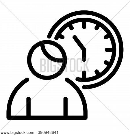 Student Work Time Icon. Outline Student Work Time Vector Icon For Web Design Isolated On White Backg