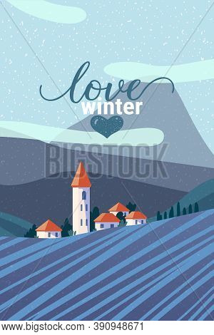 Rural Area Winter Landscape Flat Vector Illustration. Scenic Snowing Countryside View. European Town