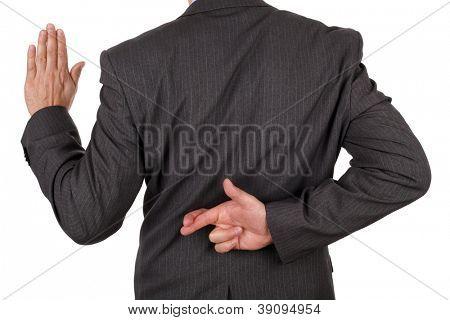 Prestar un juramento con los dedos cruzados posterior concepto de fraude de deshonestidad o negocio