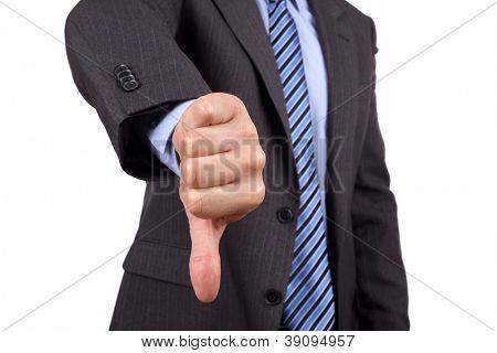 Business failure, businessman gesturing a thumbs down in displeasure