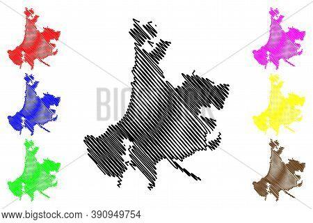Vina Del Mar City (republic Of Chile, Valparaiso Region) Map Vector Illustration, Scribble Sketch Ci