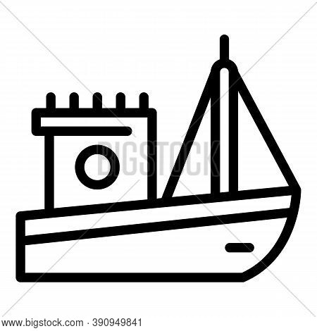 Nautical Fishing Boat Icon. Outline Nautical Fishing Boat Vector Icon For Web Design Isolated On Whi
