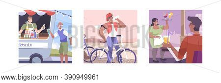 Three Squares Isolated And Flat Cool Drink Icon Set With Food And Drinks Truck Quenching Thirst Cycl