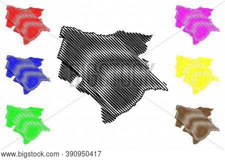 Trujillo City (republic Of Peru, Department Of La Libertad) Map Vector Illustration, Scribble Sketch
