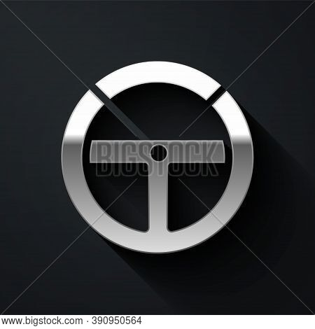 Silver Steering Wheel Icon Isolated On Black Background. Car Wheel Icon. Long Shadow Style. Vector I